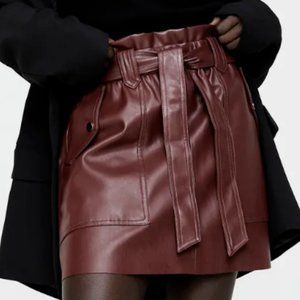 🔥MOVING SALE🔥NEW Zara FAUX LEATHER Mini SKIRT